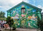 The entrance to Freetown Christiania in Copenhagen, Denmark. This is just one of many colorful murals in the walled community.
