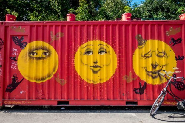 Street art in Christiania, one of the top Copenhagen sights;