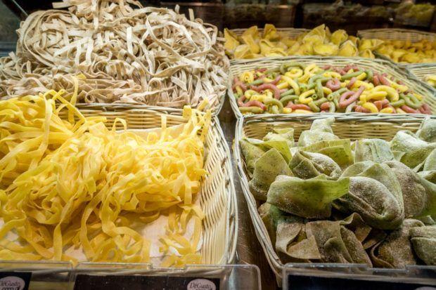 Fresh pasta options abound at Mercato di Mezzo in Bologna, Italy