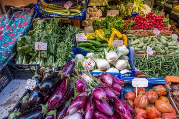 The food markets of Bologna, Italy, offer a wide variety of fresh produce, cured meats, cheeses, and other fabulous local products