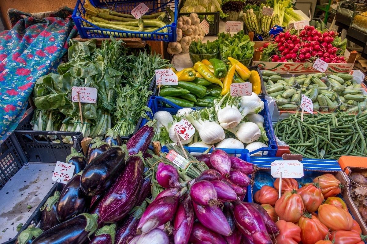 Vegetables for sale at a Bologna market