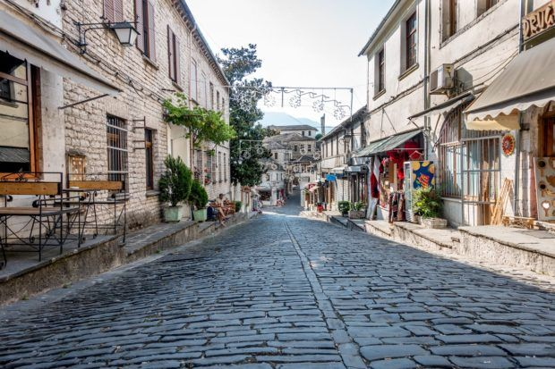 The cobbled streets of Gjirokastra, Albania