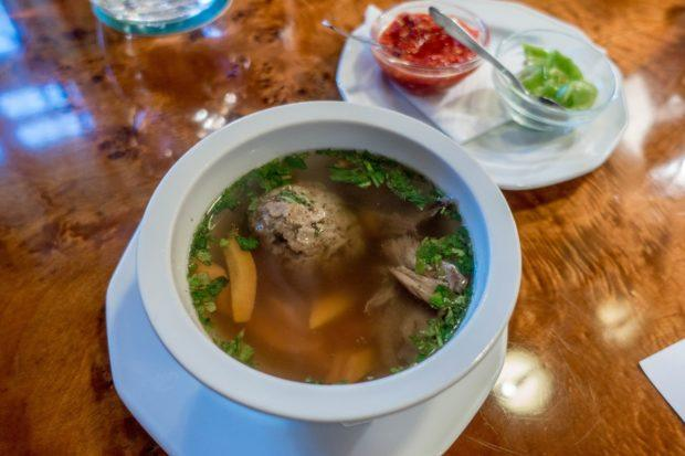 Goose matzo ball soup is a traditional Hungarian food influenced by Jewish culture