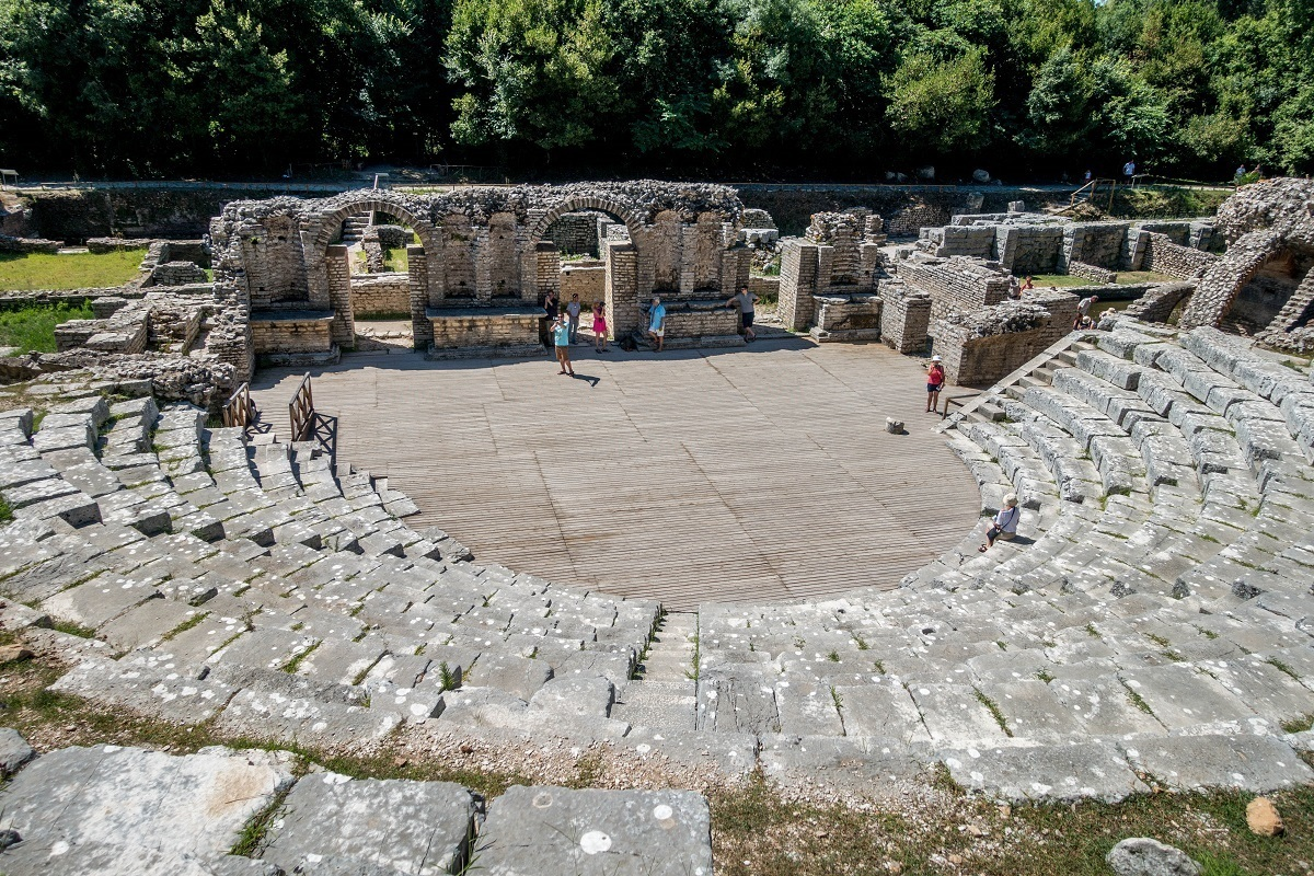The Greek amphitheater at Butrint, a UNESCO World Heritage site in southern Albania
