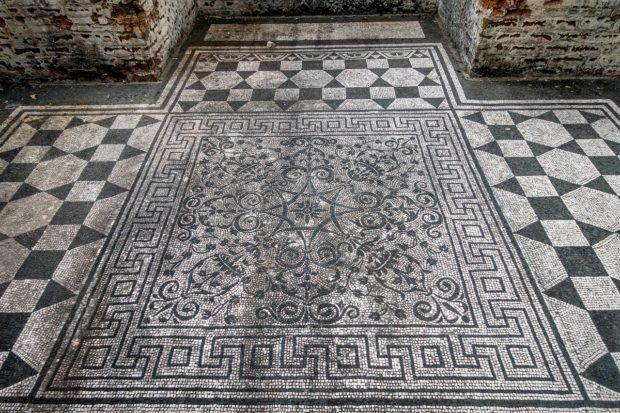 A mosaic still in tact in Hadrian's Villa in Tivoli, Italy