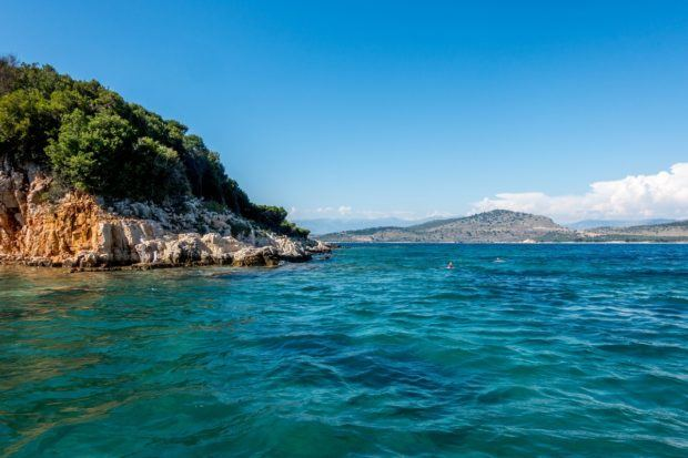 The islands of Ksamil, Albania, on the Albanian Riviera