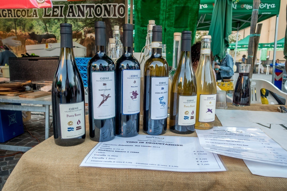 Mercato della Terra, Bologna, Italy's Slow Food Market, has a fabulous selection of hyper-local wines and craft beer