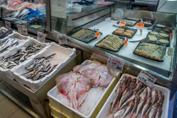 One of the Bologna markets that specializes in seafood