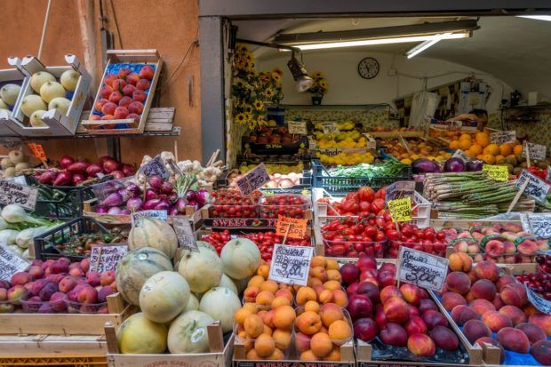 Food stalls in the Quadrilatero Bologna market brim with the freshest Italian produce