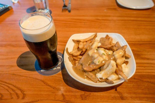 Beer and poutine at Otto's Brewery and Pub in State College, PA