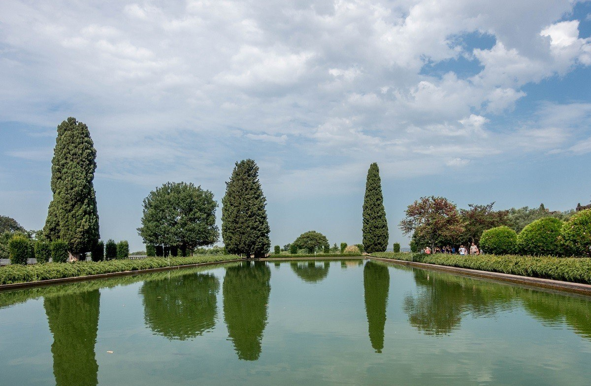 The Pecile, one of the pools at Hadrian's Villa, a UNESCO World Heritage Site, in Tivoli, Italy
