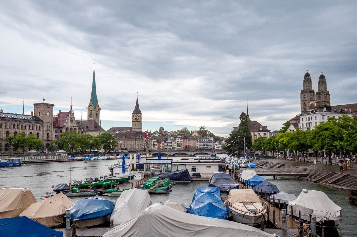 The view of Zurich old town from the Quaibrucke.