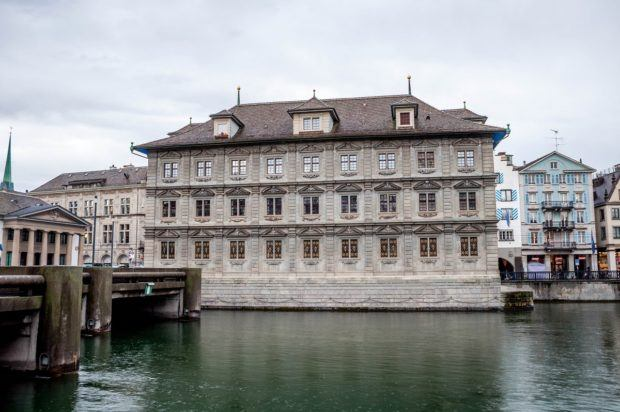The Zurich Rathaus over the Limmat River.