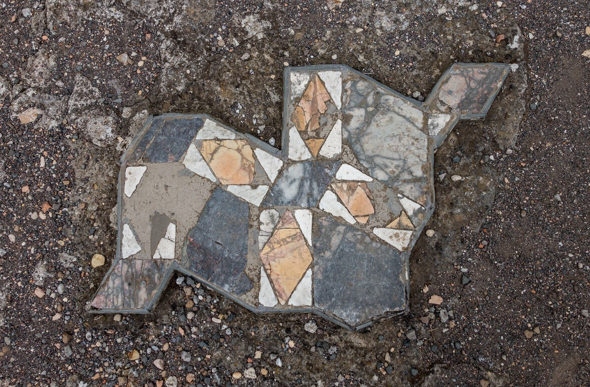 A bit of the marble that remains in Hadrian's Villa in Italy