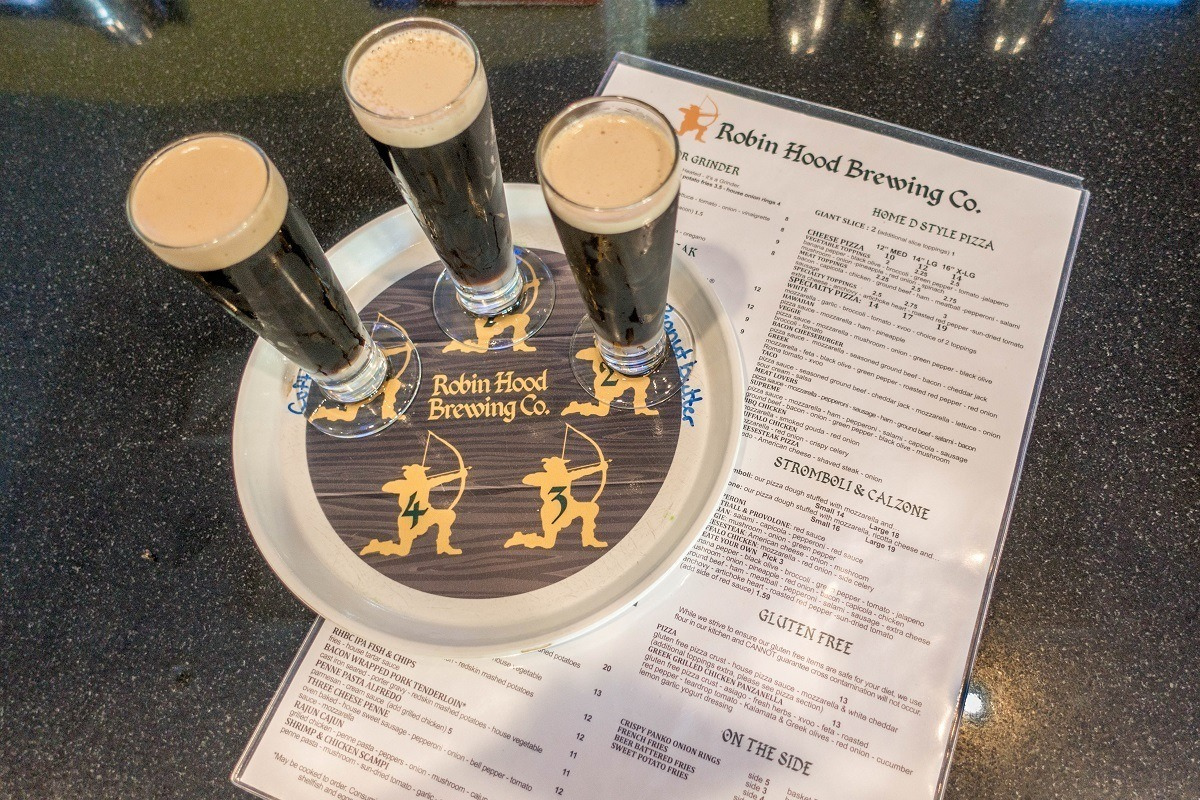 Beer tasting flight at Robin Hood Brewing Company