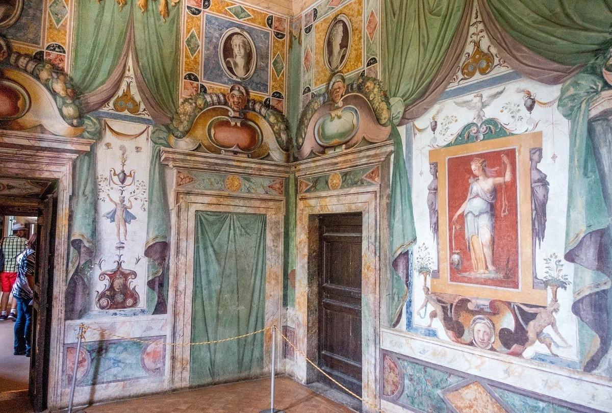 The brightly-colored interior of the Renaissance Villa d'Este, a UNESCO World Heritage Site in Tivoli, Italy