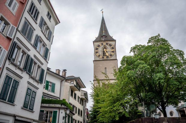 The small courtyard around St. Peter's Church in Zurich, Switzerland.