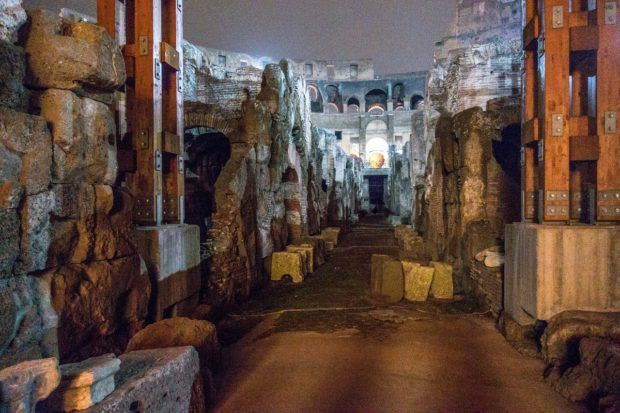 Tunnels and passageways in the underground part of the Colosseum in Rome, Italy