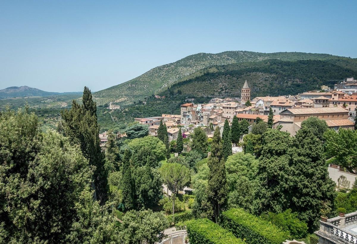 The view over Tivoli from the terrace of Villa d'Este, Tivoli