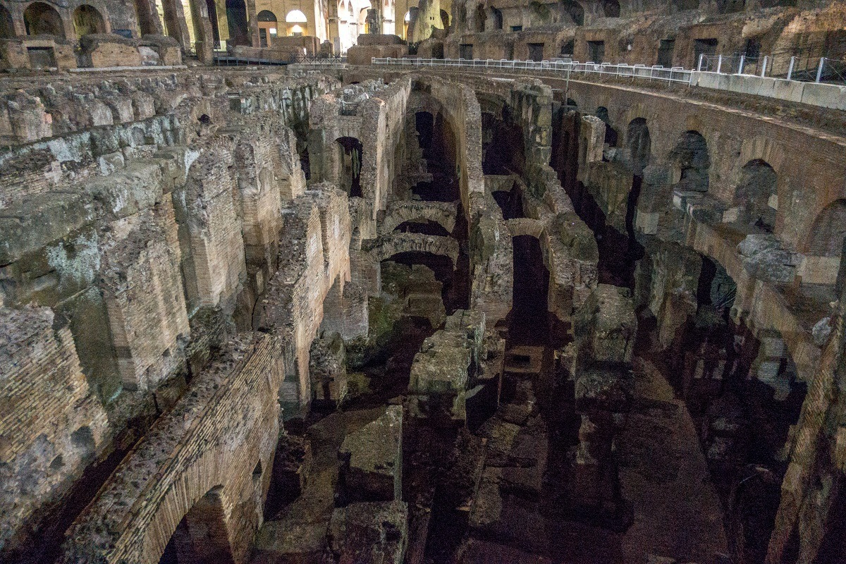 Underground tunnels of the Colosseum at night