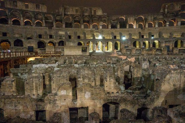 The view from the floor of the Colosseum in Rome, Italy. A stop here is one of the highlights of a Colosseum night tour.