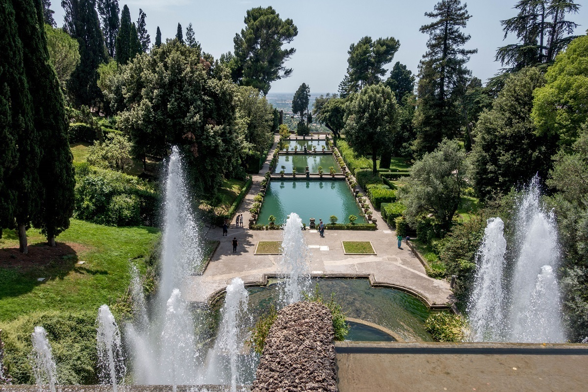 The gardens and water features at Villa d'Este in Tivoli, Italy