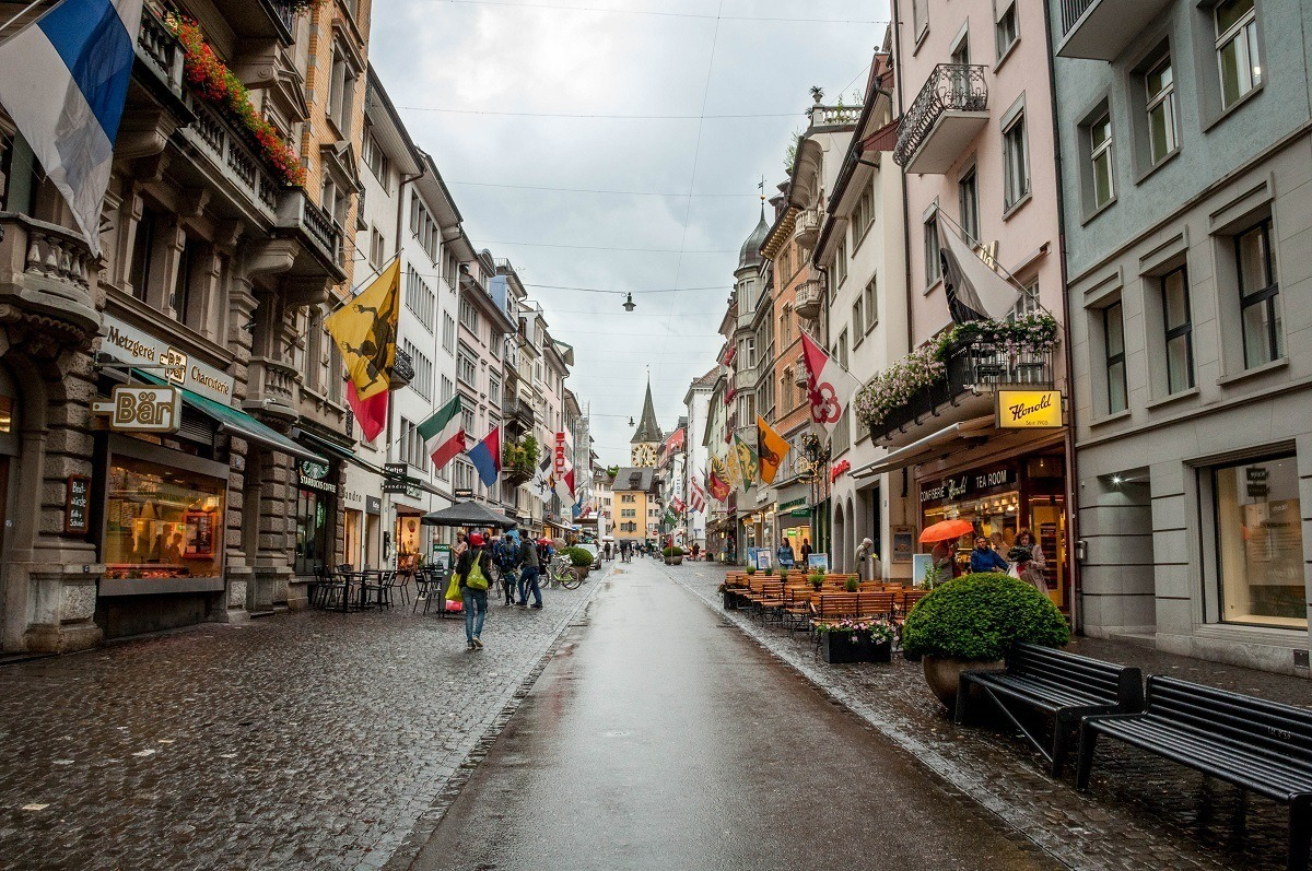 A highlight of the Zurich walking tour is medieval Rennweg Street with its cafes and artisan stores.