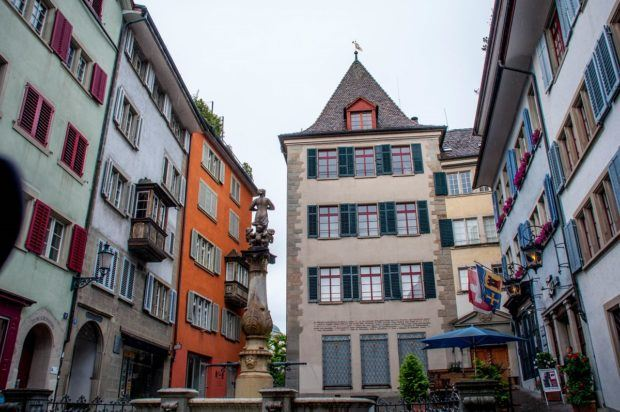 The cute buildings in Zurich's old town.