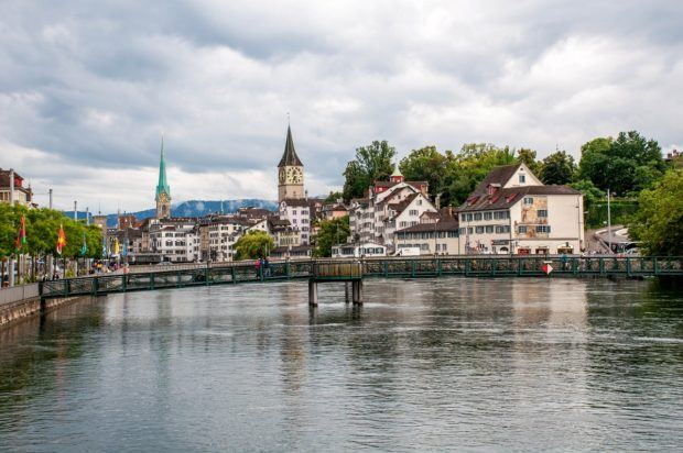 The old town of Zurich on the Limmat River.