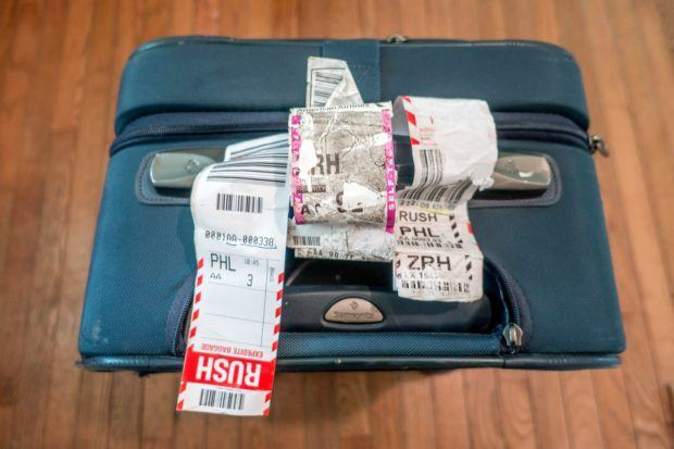 The American Airlines luggage tags as my bag flew around the world.