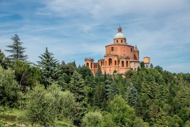 Basilica San Luca sits on a hilltop in Bologna, Italy