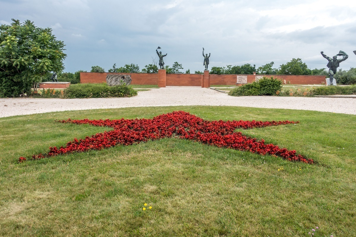 Star on the lawn at Memento Park in Budapest, Hungary