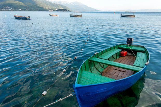 A small boat on Lake Ohrid in Macedonia.