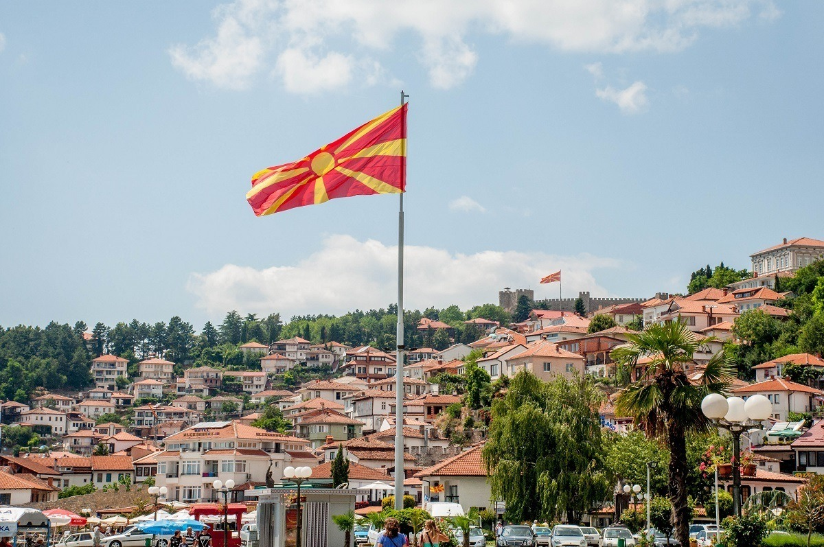 The hillside town of Lake Ohrid and the Macedonian flag.