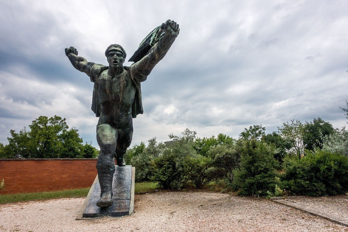 The Republic of Councils Monument is one of the most notable statues at Memento Park in Budapest, Hungary