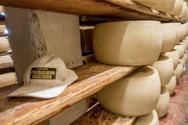 Aging Parmigiano-Reggiano at a dairy in Parma, Italy