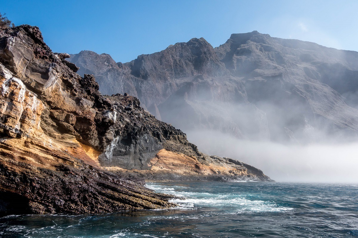 Cliffs of Punta Vicente Roca leading to the ocean in the Galapagos Islands