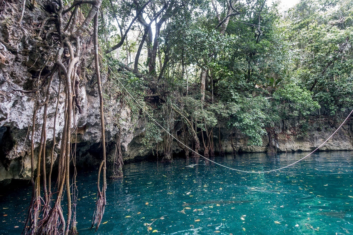 Discovering the Cenote Verde Lucero while exploring the Ruta de los Cenotes on Mexico's Riviera Maya