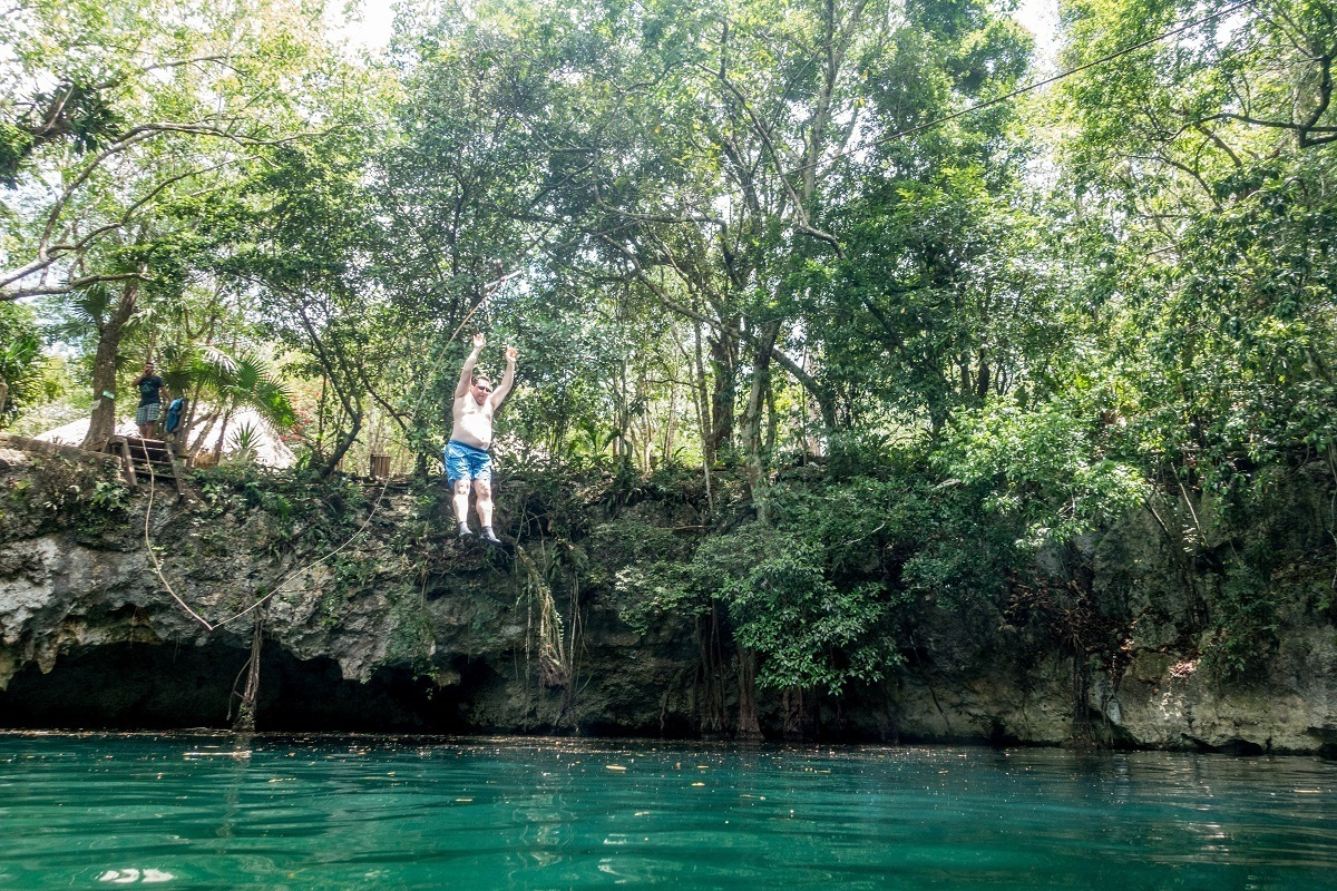 Lance on the zip line at the Cenote Verde Lucero on Riviera Maya's Cenote Trail