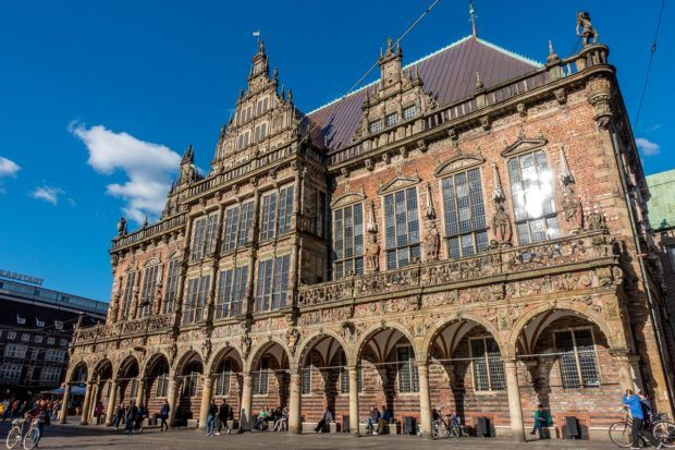The Bremen Town Hall was built in the early 15th century. Along with the Bremen Roland statue, it has been designated a UNESCO World Heritage Site