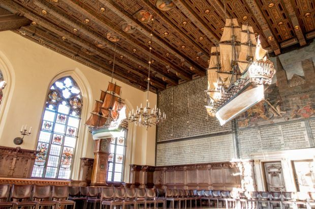 The Upper Hall in Bremen Town Hall is decorated with items paying homage to the city's history in the Hanseatic League