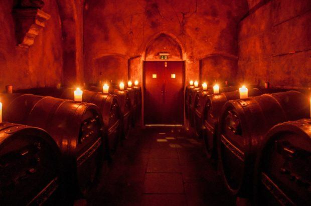 The private room in Bremen's wine cellar is full of wine barrels named after the apostles