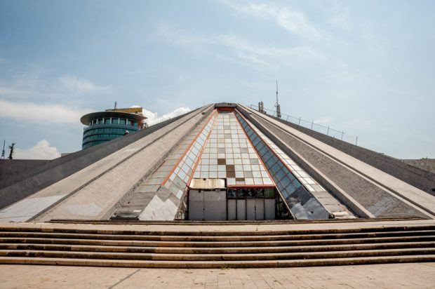 One of the most interesting (and unique) things to do in Tirana is to walk up the side of the Enver Hoxha Pyramid.