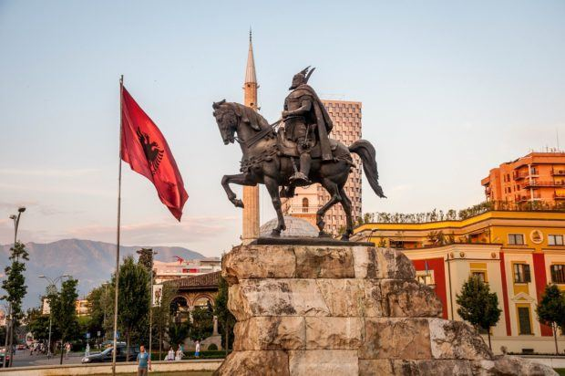 The Skanderbeg Monument in Skanderbeg Square in Albania's capital.