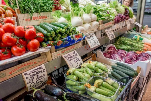 Mercato delle Erbe, a Bologna food market, overflows with Italian produce