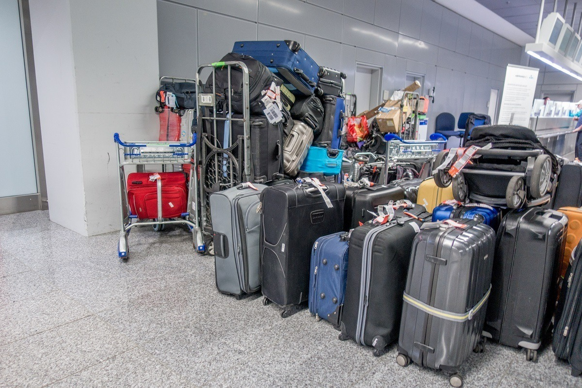 Piles of missing and delayed baggage