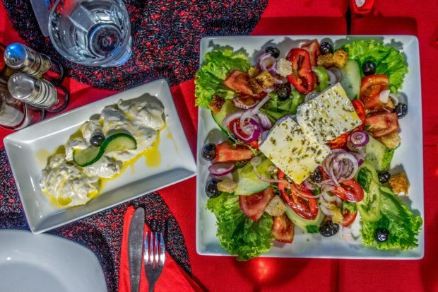 Aegean salad and taratur are Albanian foods that are similar to Greek food items