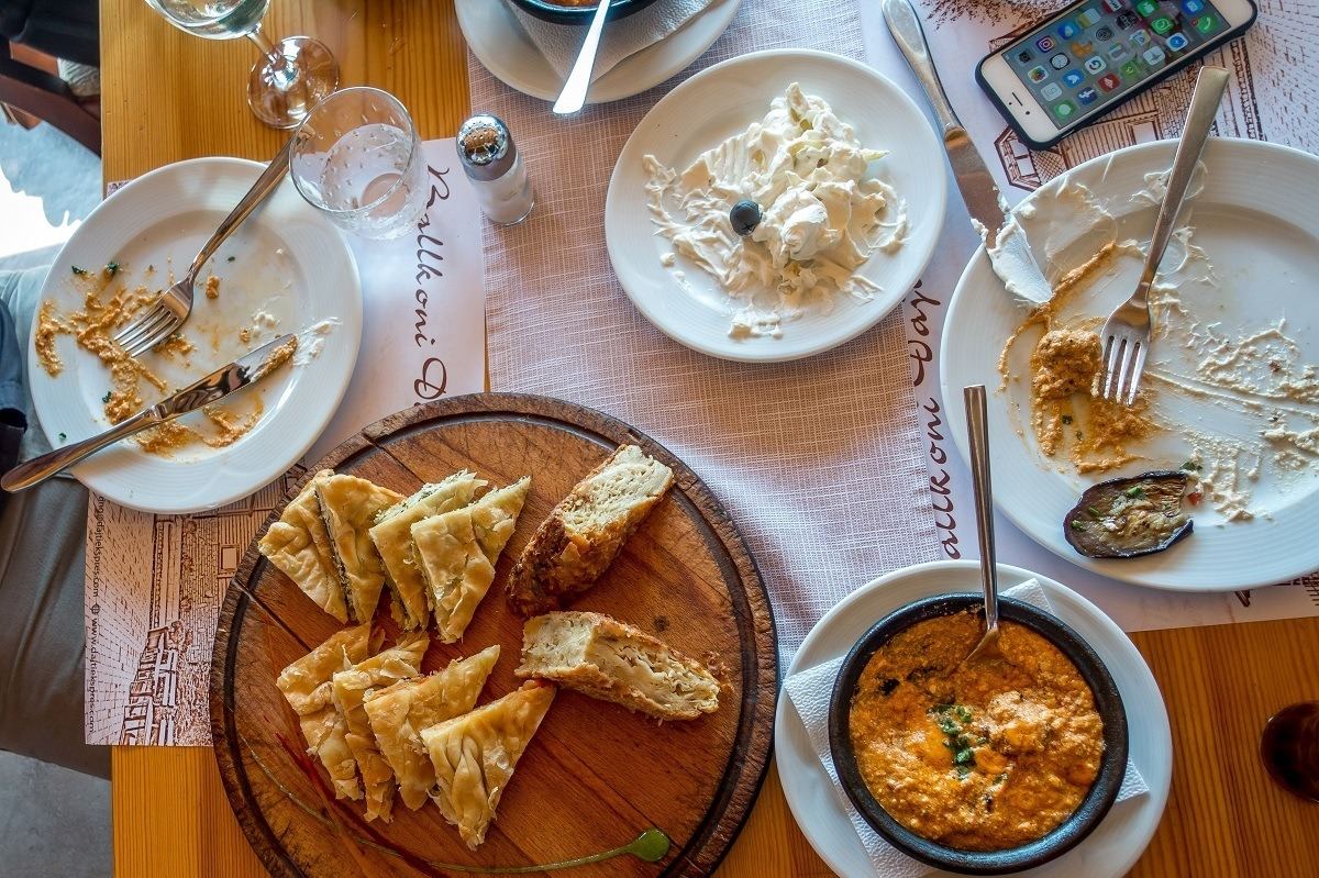 Burek, tarator, and traditional Albanian food on table