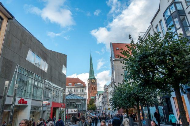Breitestrasse, a main pedestrian shopping street in Lubeck, Germany