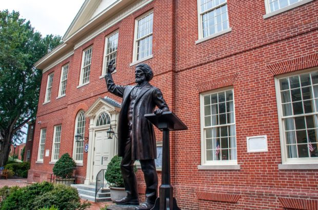 Frederick Douglass statue at the Easton, MD, courthouse where the abolitionist was once imprisoned.